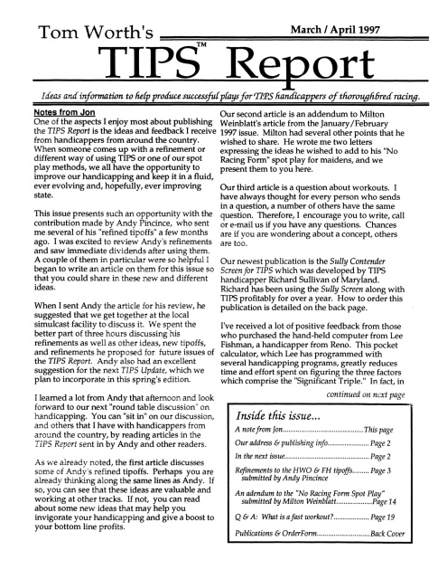 TIPS Report: March/April 1997 - Addendum to popular No Racing Form Spot  Play